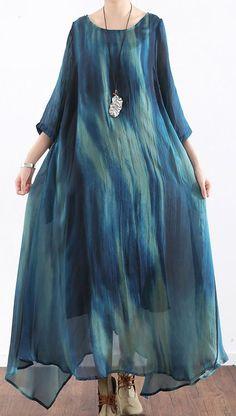 blue stylish silk dresses plus size casual sundress asymmetric short sleeve maxi dress