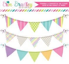 Springtime Bunting Commercial Use Clipart – Erin Bradley/Ink Obsession Designs