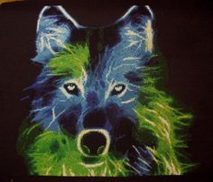 The Wolf Counted Cross Stitch Pattern by Kseniya Adonyeva Wood Animal, Counted Cross Stitch Patterns, Black Fabric, Cross Stitching, Pet Birds, Needlepoint, Wolf, Crafty, Embroidery