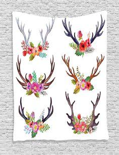 Printable Watercolor Deer Antler Art print- Instant ...