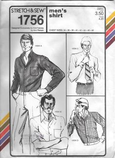 Stretch & Sew 1756 Men's Collar Button Shirt Sewing Pattern Chest 34 to 48 by Denisecraft on Etsy