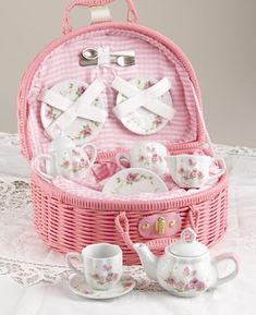 Pretty little girl's tea set -- I bought one for my Mom 'cause all girls like pretty tea sets!