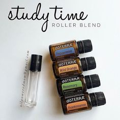 Study time/work time roller blend! For children: 1 drop each in a 10 ml roller, top with FCO. For adults: 5 drops each in a 10 ml roller, top with FCO. Shake and apply to chest and back of neck. This would also be amazing diffused during homework or work hours! Rosemary and Frankincense help with brain function and memory, Peppermint is energizing, and Wild Orange is uplifting, and helps calm anxious feelings and stress.