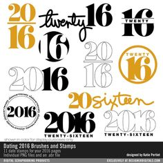 Dating 2016 Brushes and Stamps digital date stamps #designerdigitals