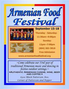 Armenian Food Festival September 15-18th