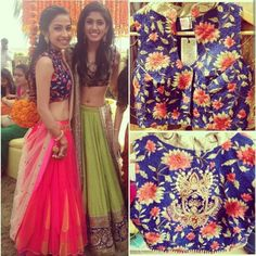 Loving the floral blue blouse on a pink lehnga with nude dupatta