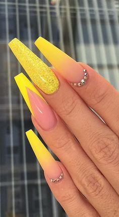 new years nails coffin \ new years nails . new years nails acrylic . new years nails gel . new years nails glitter . new years nails dip powder . new years nails design . new years nails short . new years nails coffin Yellow Nails Design, Yellow Nail Art, Acrylic Nails Yellow, Pastel Yellow, Neon Yellow Nails, Yellow Hair, Orange Nails, Royal Blue Nails, Neon Purple