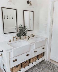 farmhouse sink in bathroom vanity, modern farmhouse bathroom, patterned tile, st. farmhouse sink i Ideas Baños, Decor Ideas, Decorating Ideas, Decorating Websites, Bathroom Inspiration, Bathroom Ideas, Bathroom Remodeling, Couples Bathroom, Bathroom Goals