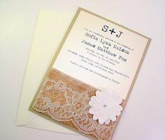 Burlap Lace Rustic Wedding Invitation