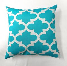 Pillow.18x18. Blue Moroccan Quatrefoil  by TwistedBobbinDesigns