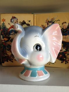 SALE - Adorable Vintage Inarco Head Planter , Japan Ceramic Elephant, Circus Themed