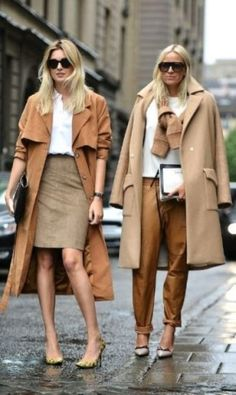 Due look con cappotto camel