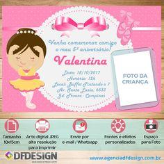 Convite de Aniversário Personalizado Bailarina Tamanho 15x10cm, Impressão em papel couché 230 gramas e personalizado com os dados da festa e a mensagem que desejar.