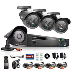 Sannce Home CCTV Camera System 8CH Full 960H Video DVR Recorder 4x 900TVL Surveillance Bullet Cameras110ft Super Night Vision IP66 Weatherproof Metal Housing P2P & QR Code Scan Easy Remote Access (NO HDD)