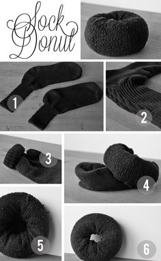 the sock donut tutorial part one  http://blog.isavirtue.net/2012/01/how-to-sock-bun.html