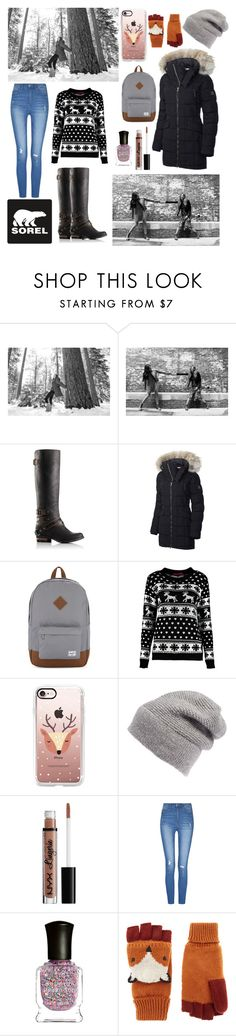 """""""Tame Winter with SOREL: Contest Entry"""" by summersadness-446 ❤ liked on Polyvore featuring SOREL, Herschel Supply Co., Boohoo, Casetify, Rebecca Minkoff, NYX, Deborah Lippmann, Accessorize and sorelstyle"""