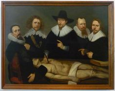 The Anatomical Lesson of Dr Zacheus de Jager. It was painted by Christiaan Coevershof in 1640 and the deans are posed in the manner used by Rembrandt in his famous 1632 Anatomical Lesson of Dr Tulp. However; unlike Rembrandt, Coevershof did not portray an anatomy lesson, rather the painting served only as an historical record of the deans.