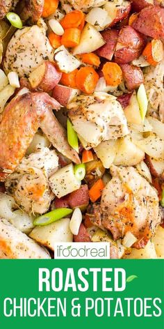 Roasted chicken thighs, potatoes, carrots and onion tossed in simple spices, garlic and oil. Then oven baked until chicken is juicy with crispy skin and onions are roasted. Major yum! Oven Roasted Chicken Thighs, Chicken Thigh Recipes, Roasted Potatoes And Onions, Chicken Potatoes, Healthy One Pot Meals, Healthy Breakfast Recipes, Chicken Zucchini, Onion Recipes, Supper Recipes
