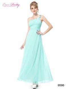 One Shoulder Blue Flower Ruffles Chiffon NWT Evening Dress
