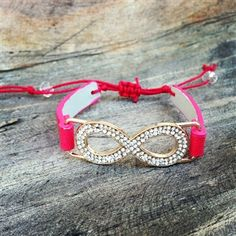 Rhinestone Infinity Bracelet with Coral Leather Tie Band