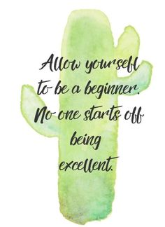 """Allow yourself to be a beginner. No one starts off being excellent."" 