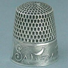 Antique Salem Witch Sterling Thimble by Webster Co; Circa 1890's
