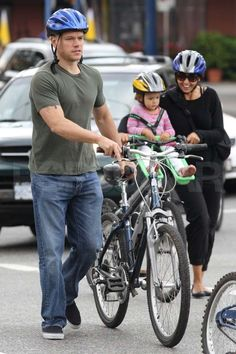 Doting father and husband #Matt #Damon went out biking in NYC.  ♥ If you enjoyed my pin, pls visit my celebrity site at http://www.celebritysizes.com/ ♥