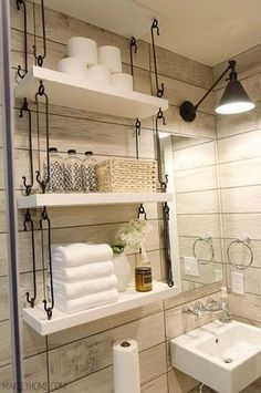 Farmhouse Bathroom Hanging Over-Toilet Shelves