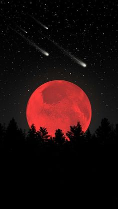 Amazing Blood Red Moon With Stars Shooting In The Sky A Cool Wallpaper For Your