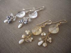 ダイヤモンドシェイプの天然石と小枝のピアス(イヤリング) - Yoko's Jewelry