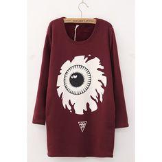 Eye Print Long Sleeve Round neck Loose Sweatshirt (53 CAD) ❤ liked on Polyvore featuring tops, hoodies, sweatshirts, loose tops, sweatshirts hoodies, patterned sweatshirts, pattern tops and loose fitting tops