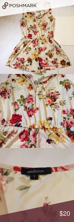 """Floral romper zipper size s women's Super cute and flowy feeling. 29"""" length, 16"""" pit to pit width Ambiance Apparel Dresses"""