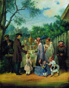 СОЛОМАТКИН, ЛЕОНИД ИВАНОВИЧ.«В увеселительном саду (Уличная сценка)» 1850–1860 Холст, масло Тульский областной художественный музей