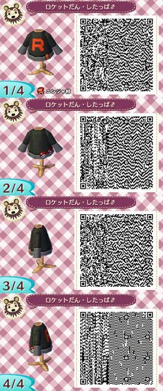 tumblr_mif3d18OWb1s5yx07o7_1280.jpg (400×960) For anyone who wants to dress like Team Rocket in their Animal Crossing game. :)