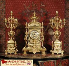 Huge Antique French Gilt Brass Clock Set