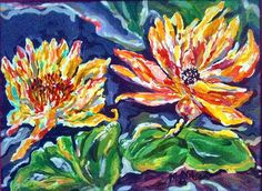 This photograph is of Two Water Lilies done in acrylic paint.