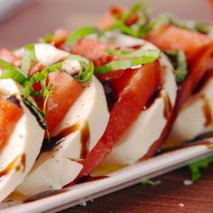 Watermelon Caprese - Appetizers & Hors D'oeuvres - This salad was made for summer. Informations About Watermelon Caprese Pin You can easily use my prof - Caprese Appetizer, Appetizer Recipes, Appetizers, Cucumber Recipes, Watermelon Recipes, Salad Recipes, Clean Eating Snacks, Healthy Snacks, Healthy Recipes