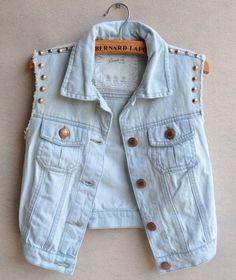 jacket, short, denim jacket, studs