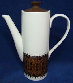Mikasa Brocade Fine Japanese China Porcelain Coffee Pot Retro 60's 70's Classic  