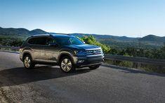 Download wallpapers Volkswagen Atlas, 2018, 4k, new gray Atlas, SUV, German cars, USA, Volkswagen