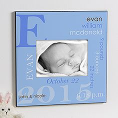 What a beautiful Personalized Baby Picture Frame! You can have it personalized with all the baby's birth info: name, weight, height, time, date, etc. It's the perfect New Baby gift and it comes in 6 different colors!
