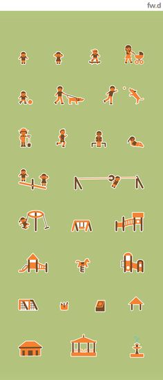 """Playful """"Play people"""" bespoke pictogram set developed to convey wider attractions and ammenities in public park environments by fwdesign.  www.fwdesign.com  #icons #vector #graphics #characters #play"""