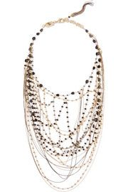 Magia gold and gunmetal-tone, hematite and pyrite necklace