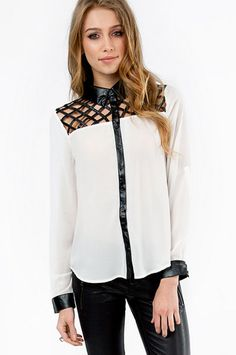 Leather Cutout Top Button Up $46 at www.tobi.com