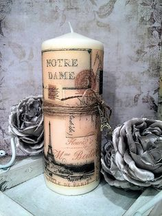 Vintage maxi sviečka s Eiffelovkou