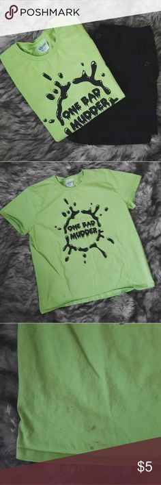 One Bad Murder Graphic Tee ♡ really cool neon green ♡ has a tiny stain that can be washed out ♡ says large but also fits medium  🌼 no trades please 🌼  🌼 accepting offers 🌼 🌼 bundle for a better deal! 🌼 Tops Tees - Short Sleeve