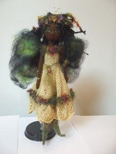 "Fairy, ""Topaz""  Hand knit by Jeanne Lawrence."