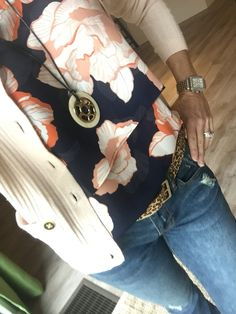 OOTD-cabi Spring '16 Blossom Top, Deconstructed Skinny, Helios Necklace, Kipling Belt and Fall '11 Cameo Cardi. #ootd www.nancydowning-schloss.cabionline.com Mixing some spring with two of my all time favs!!!