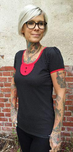 """T-Shirts mit Print - Suzi.Ramone Shirt """"Anna"""" schwarz - weiß gepunktet - ein Designerstück von ByRamone bei DaWanda"""