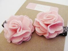 Pretty Pink Flower Hair Clips for Little Girls by Charlie Coco's